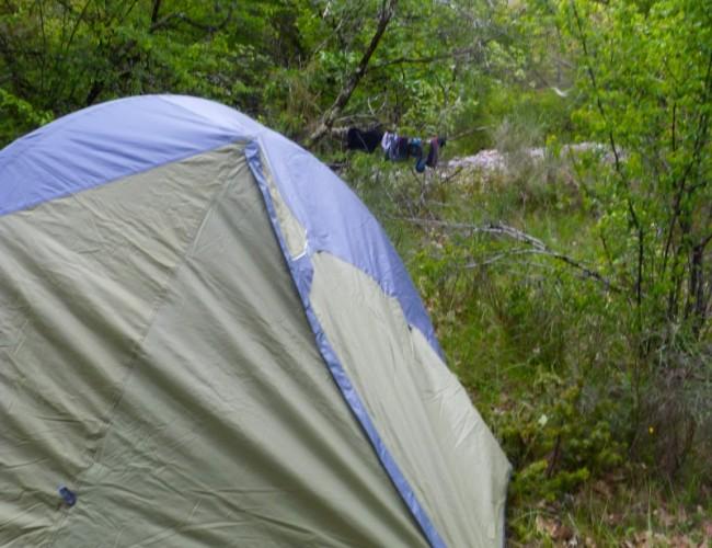 Chemin-Compostelle-bivouac-forêt-sauvage-tente-ferino